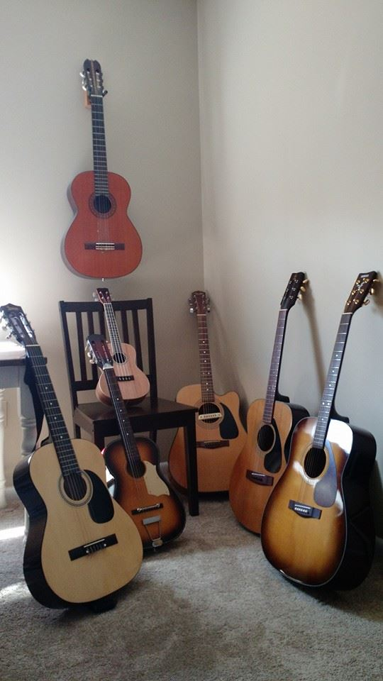 All of my acoustic guitars...